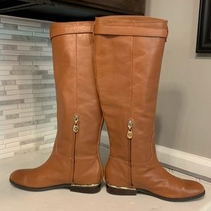 C. Wonder Leather Riding Boots with Gold Details